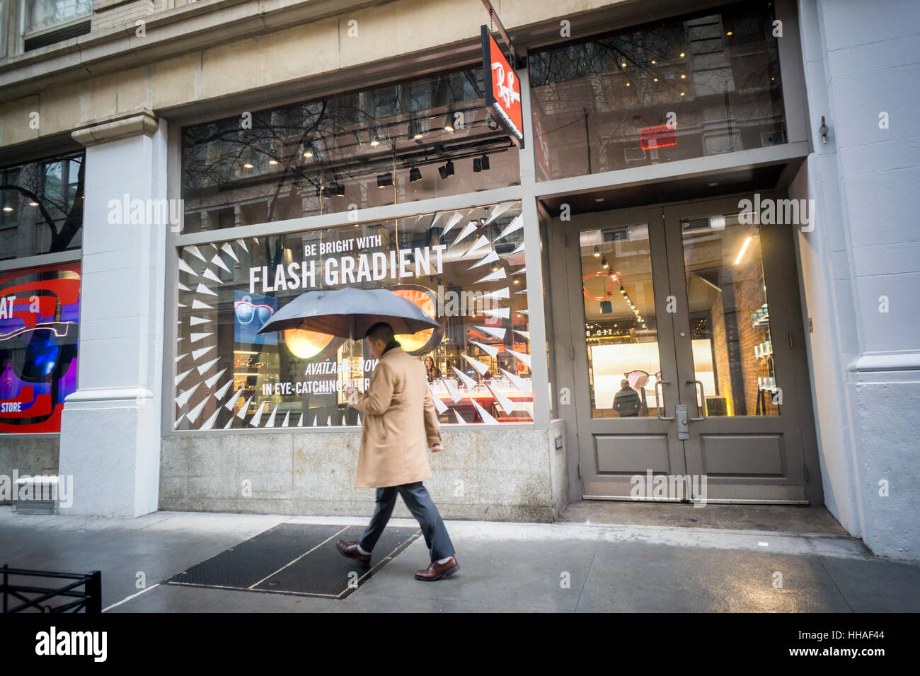 51a451c894 Luxottica's Ray-Ban flagship store in Soho in New York on Tuesday, January  17, 2017. Essilor International SA. a French lensmaker, will buy the  Italian ...