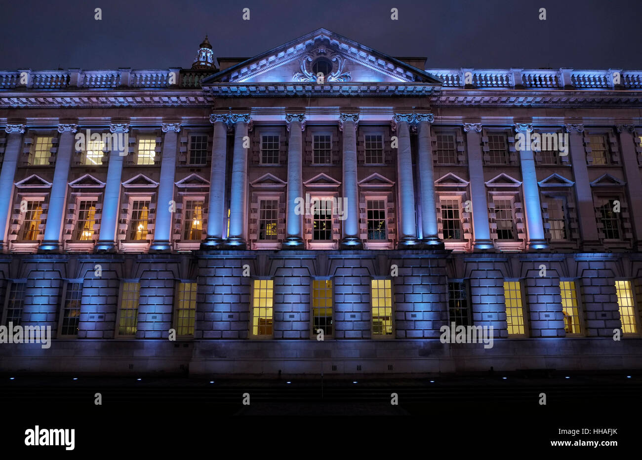 Floodlit West side of Belfast City Hall - Stock Image