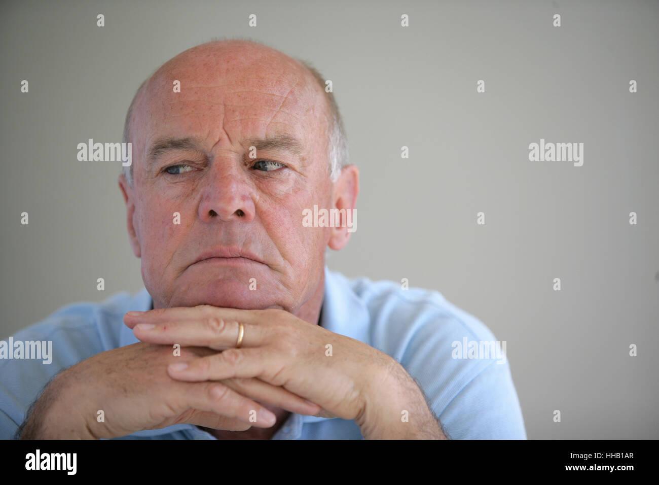 grandpa, grandfather, isolated, sad, human, human being, person, blank, Stock Photo