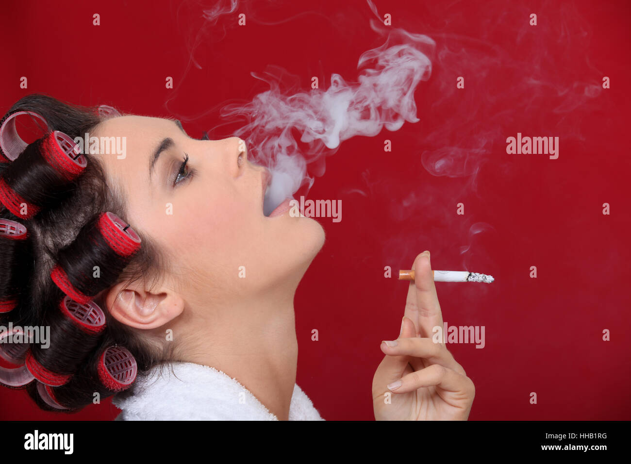Woman Cigarette Profile Hand Isolated Female Mouth Sassy Stock Photo Alamy