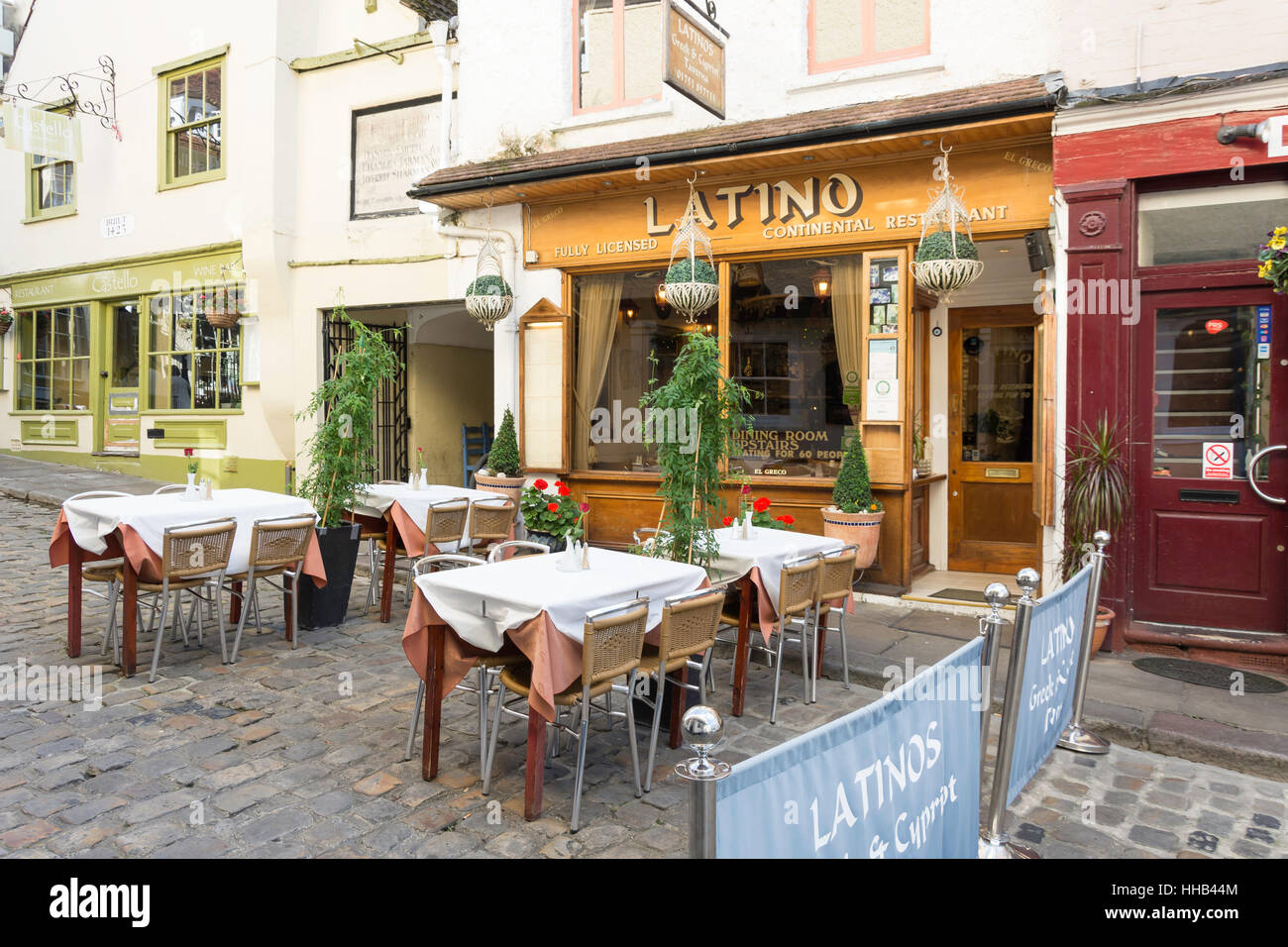 Outdoor seating at Latino Greek Restaurant, Church Lane, Windsor, Berkshire, England, United Kingdom - Stock Image
