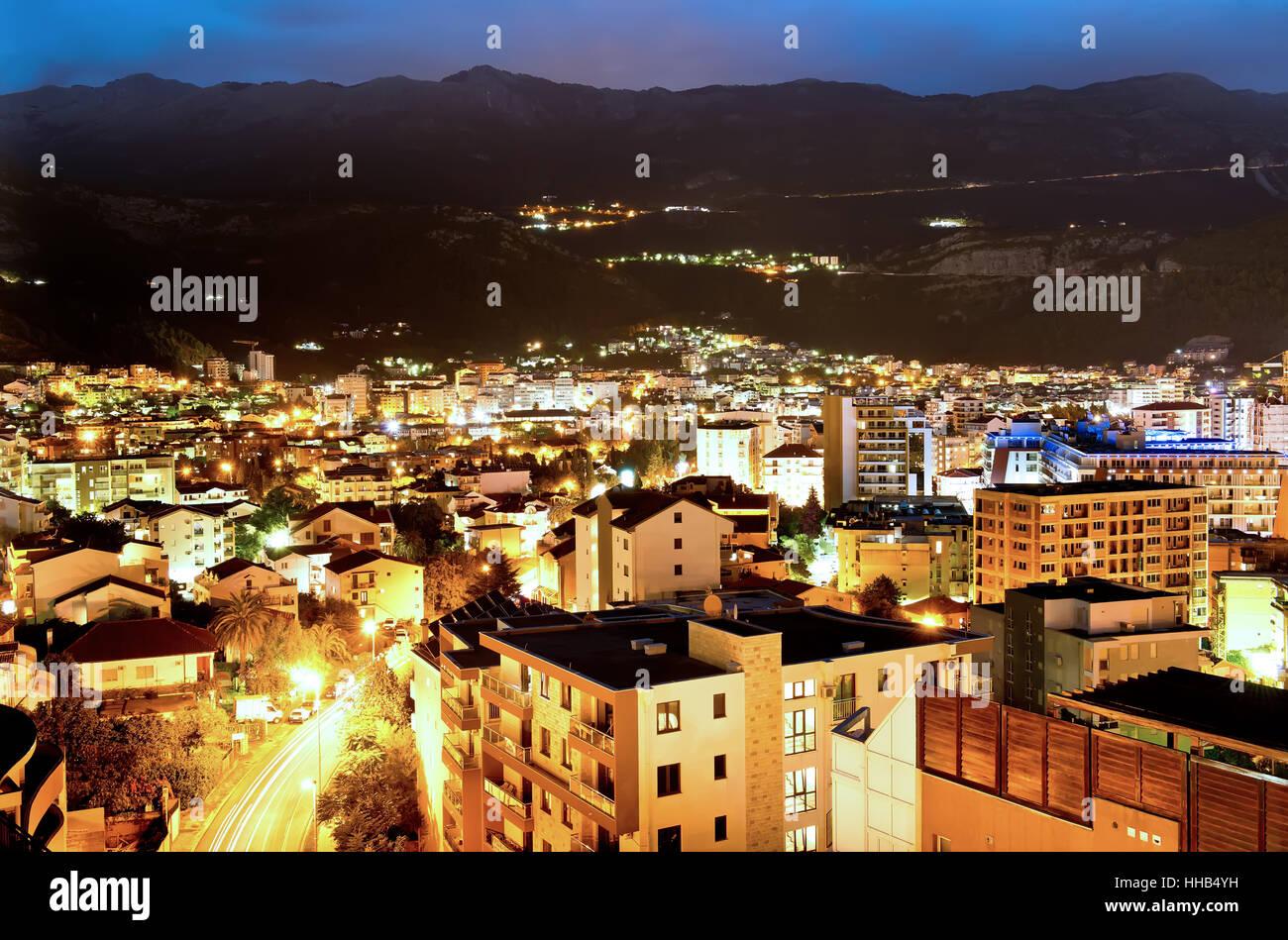 Budva town at night, Montenegro, Europe. Street and moon light Stock Photo