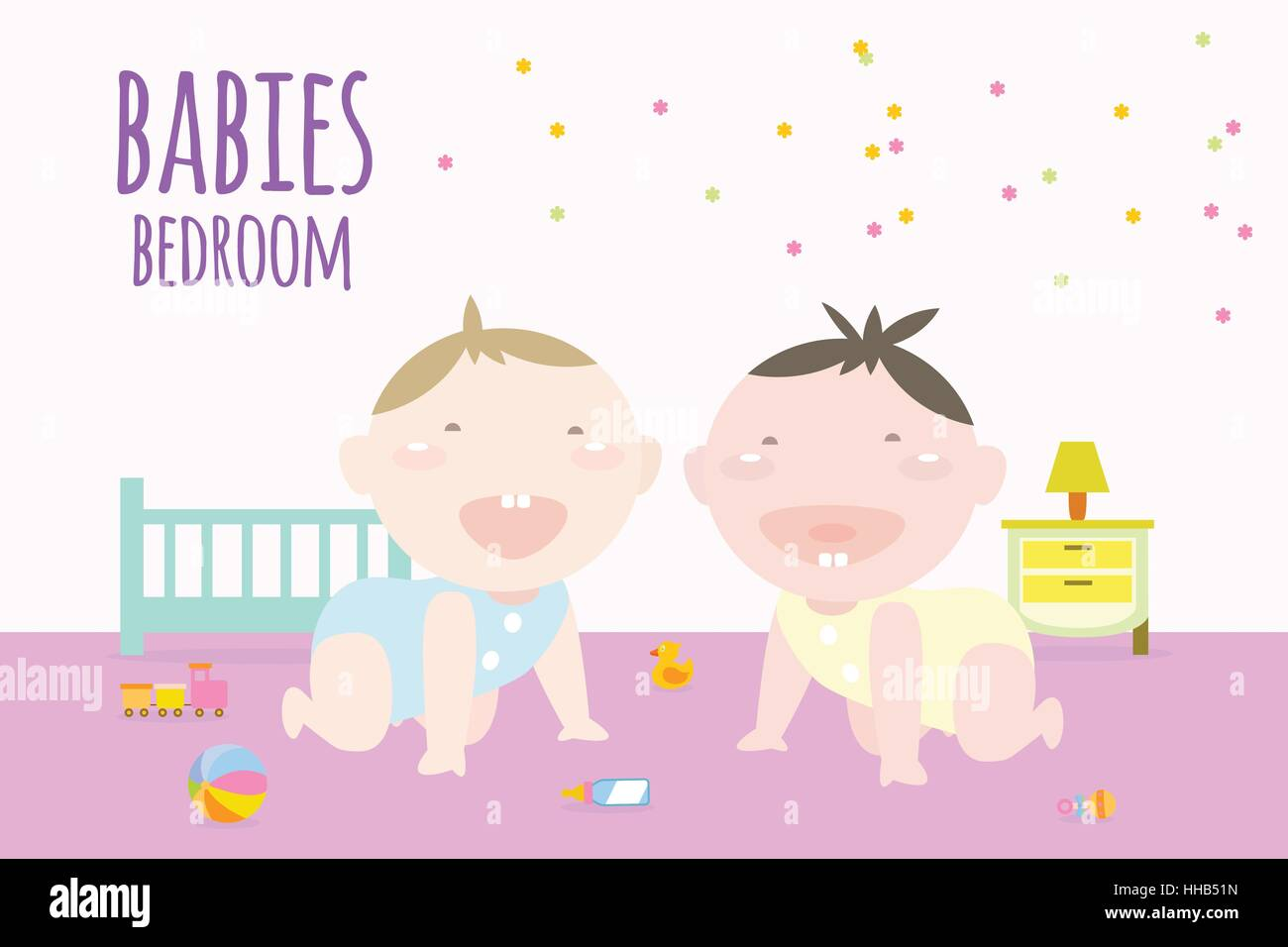 Illustration of babies crawling inside bedroom with elements of childhood. - Stock Vector