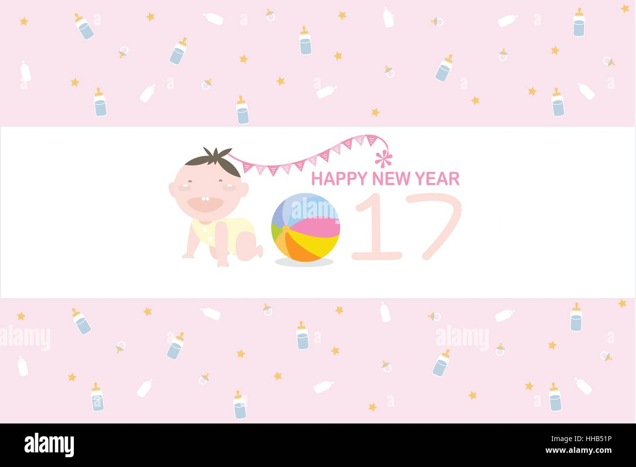 Happy New Year 2017 labels with baby milk bottle, toy and star on ping background. - Stock Vector