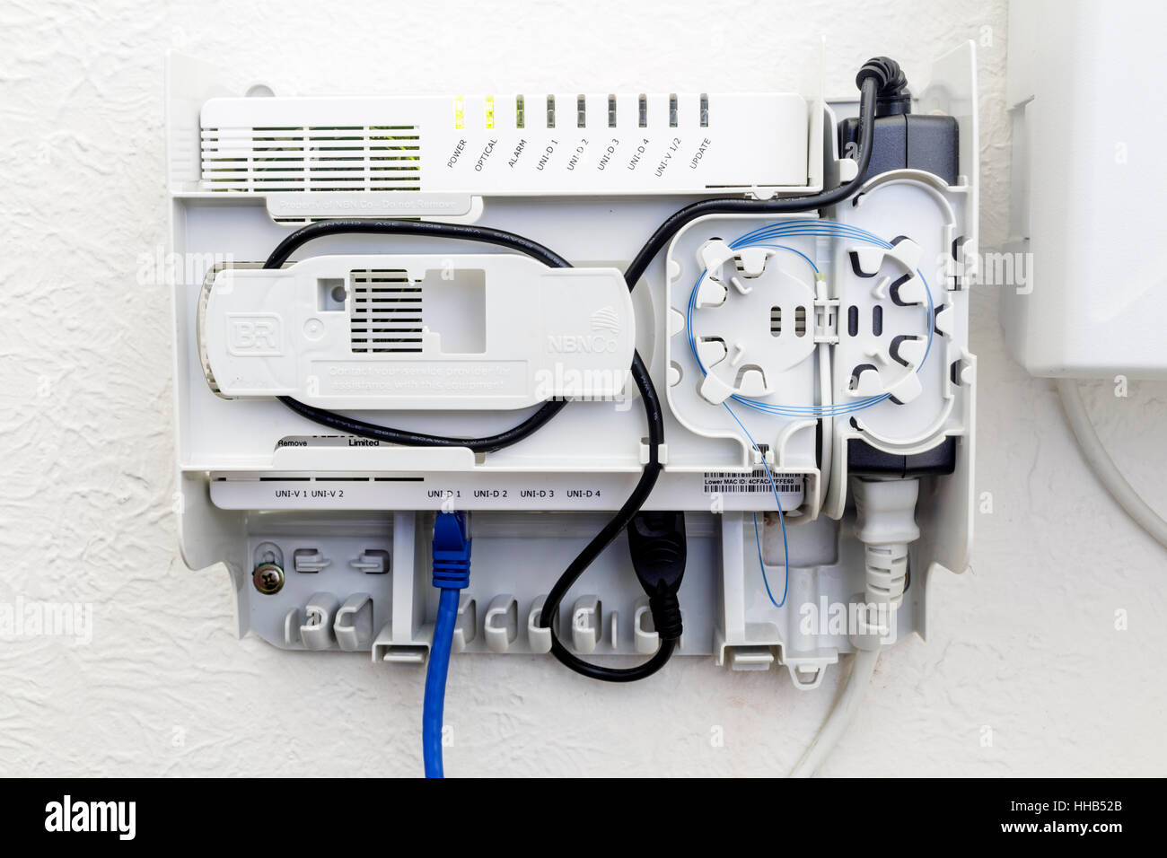 Nbn Stock Photos Images Alamy Wiring Your House For Connection Box With Th Cover Open On A Wall Inside Home