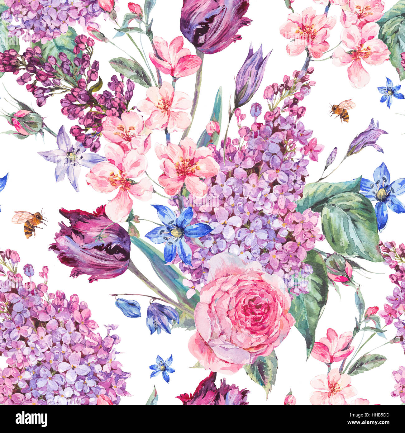 Watercolor Spring Seamless Background With Pink Flowers Stock Photo