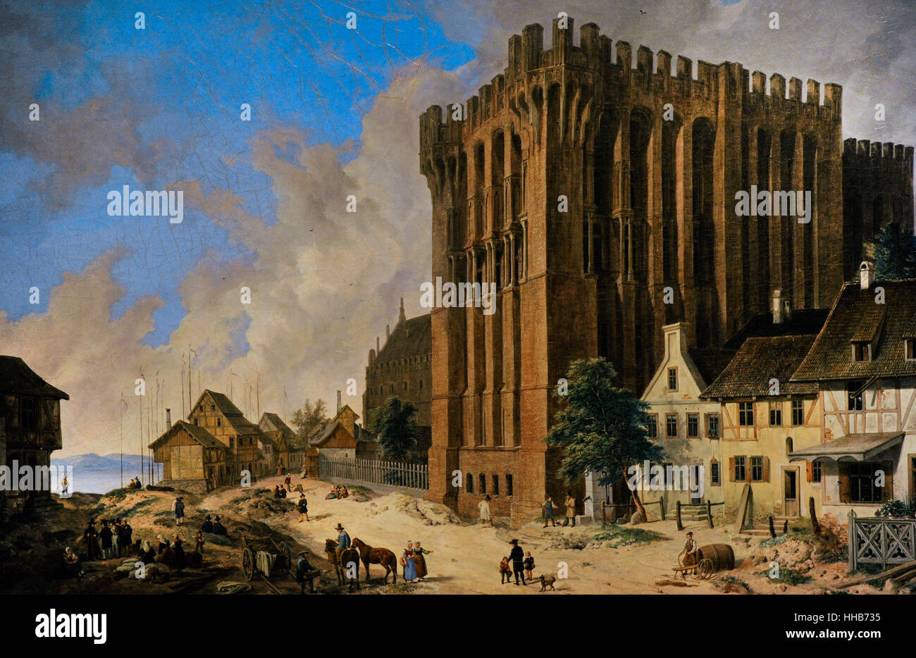Domenico Quaglio The Younger(1787-1837). German painter. The Palace of the Grand Master in Malbork. Gdansk, 1834. - Stock Image