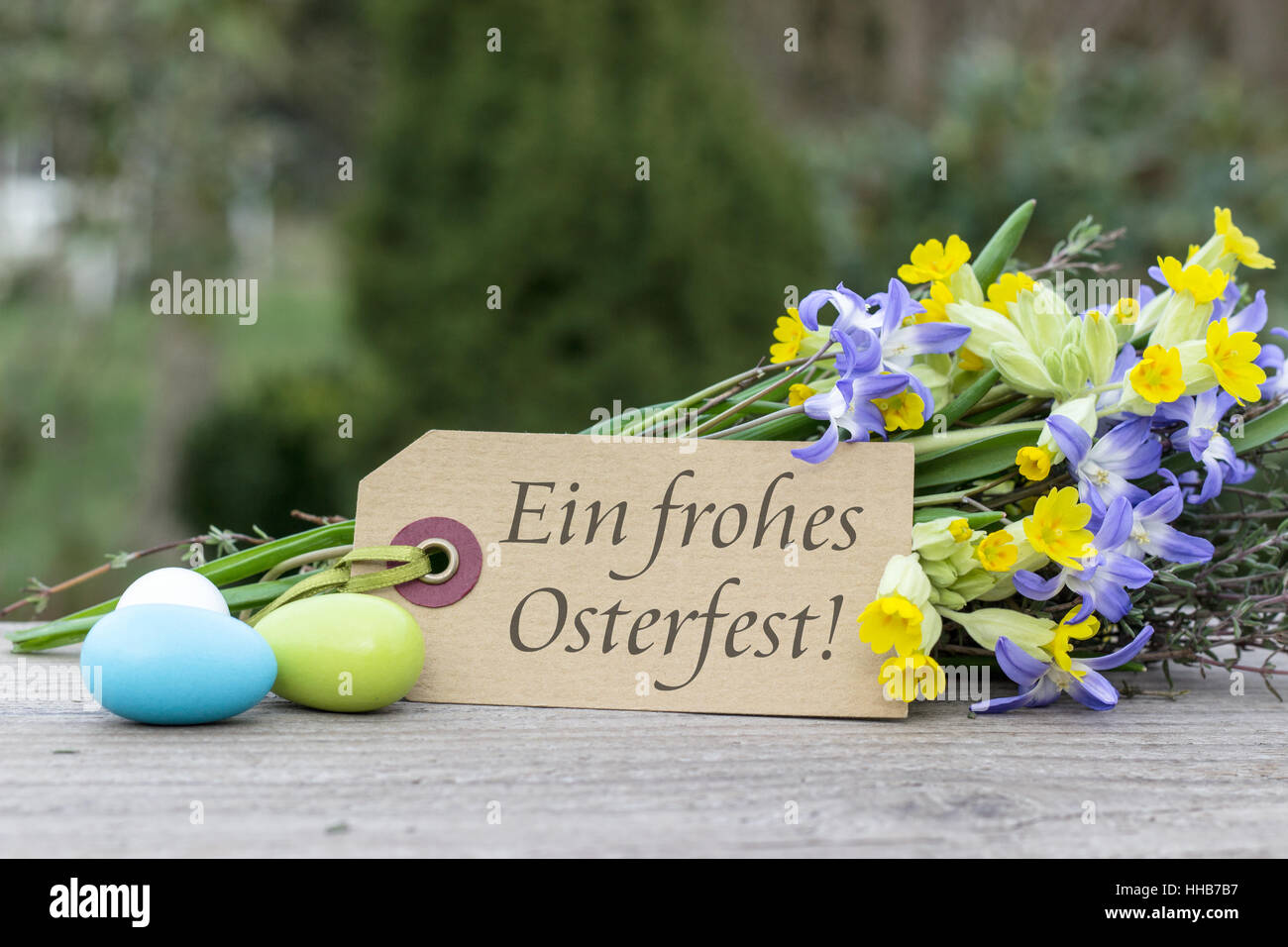 German Language Greeting Card For Easter With The Text Best Regards
