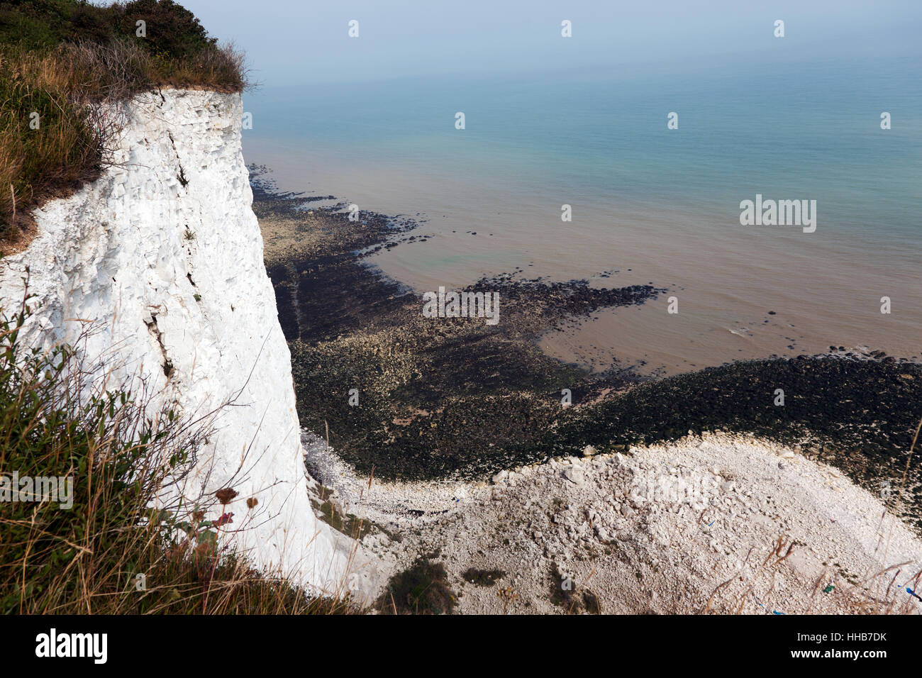 View, at low tide from the cliff-top between Old stairs Bay and St Margaret's Bay, on the Saxon Shore Way, Kent - Stock Image