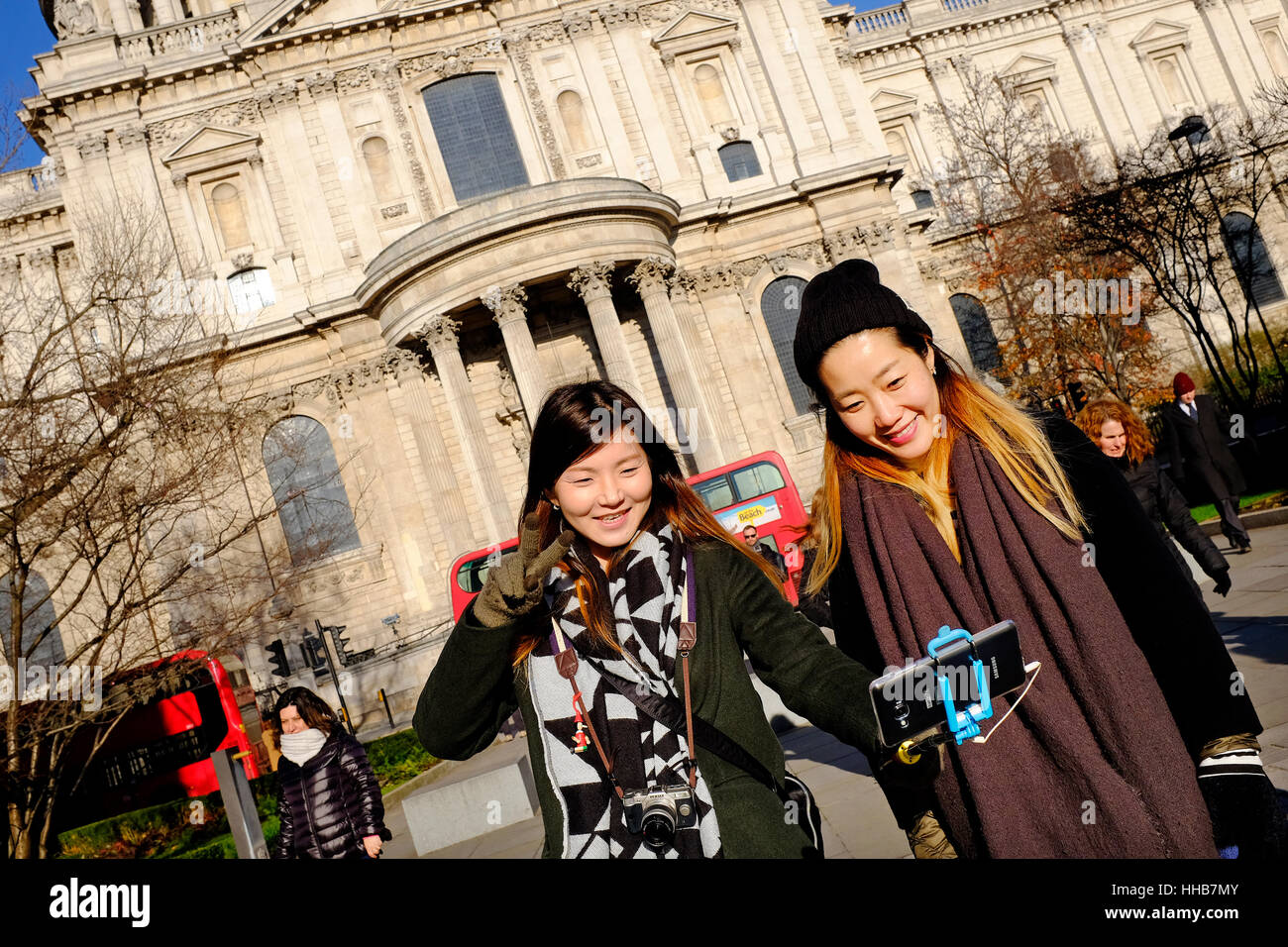 female chinese tourists taking selfie photograph Stock Photo