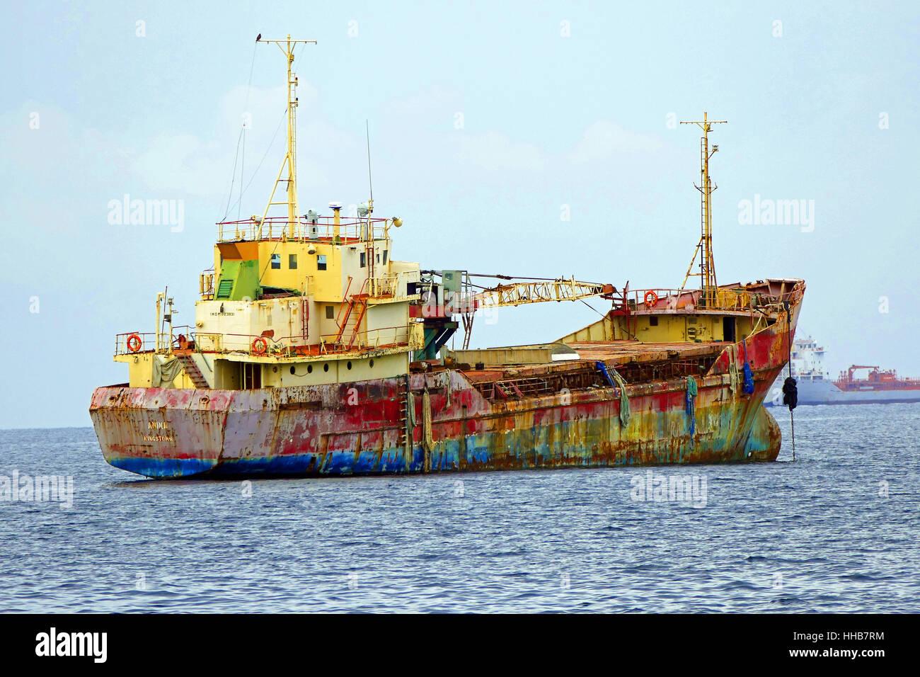 cargo ship anchored in Grenada - Stock Image