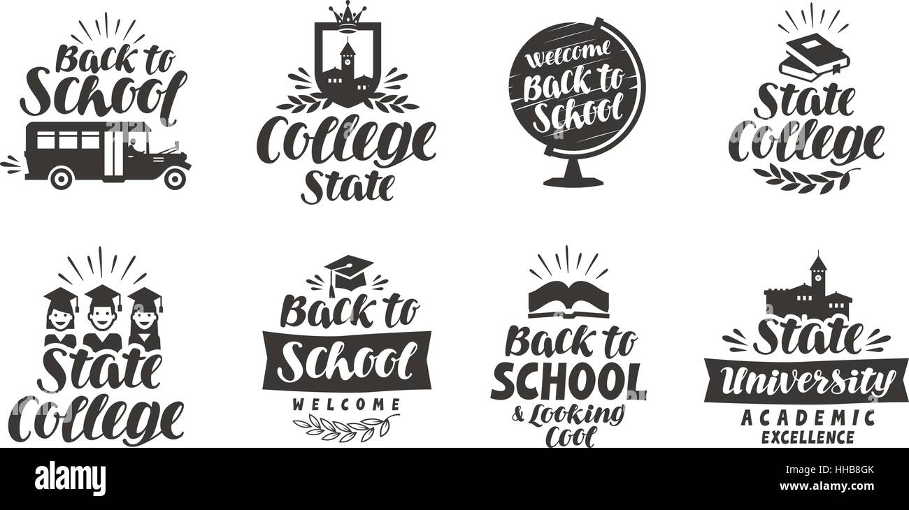 School, education set icons. Beautiful calligraphic lettering. Label vector illustration - Stock Image