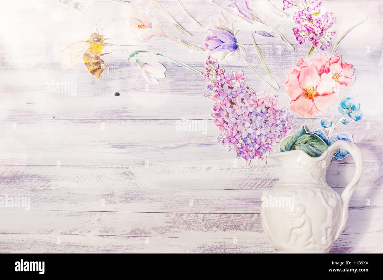 Spring Floral Decoration With Watercolor Paper Purple Flowers On A