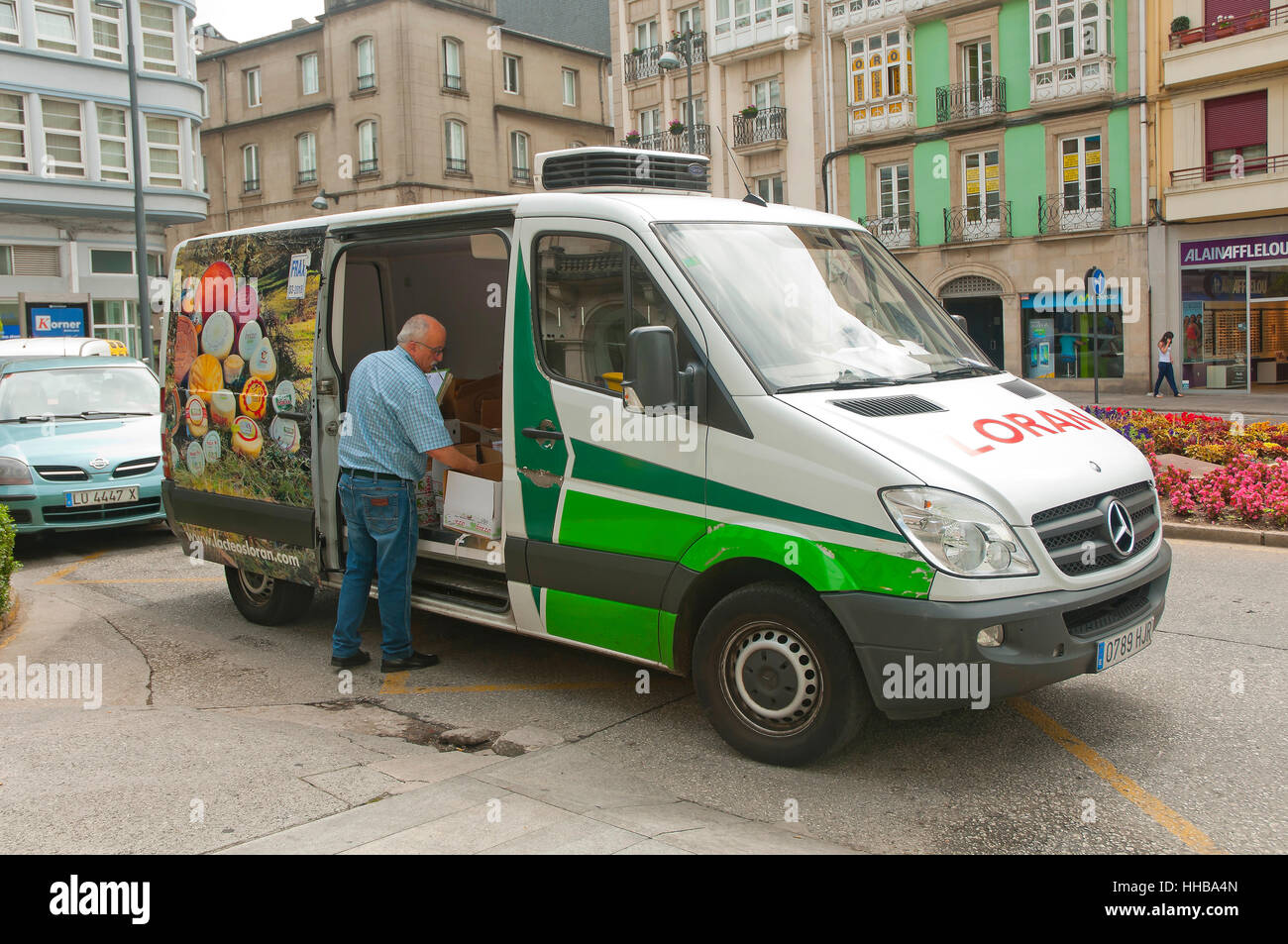Delivery van, Lugo, Region of Galicia, Spain, Europe - Stock Image