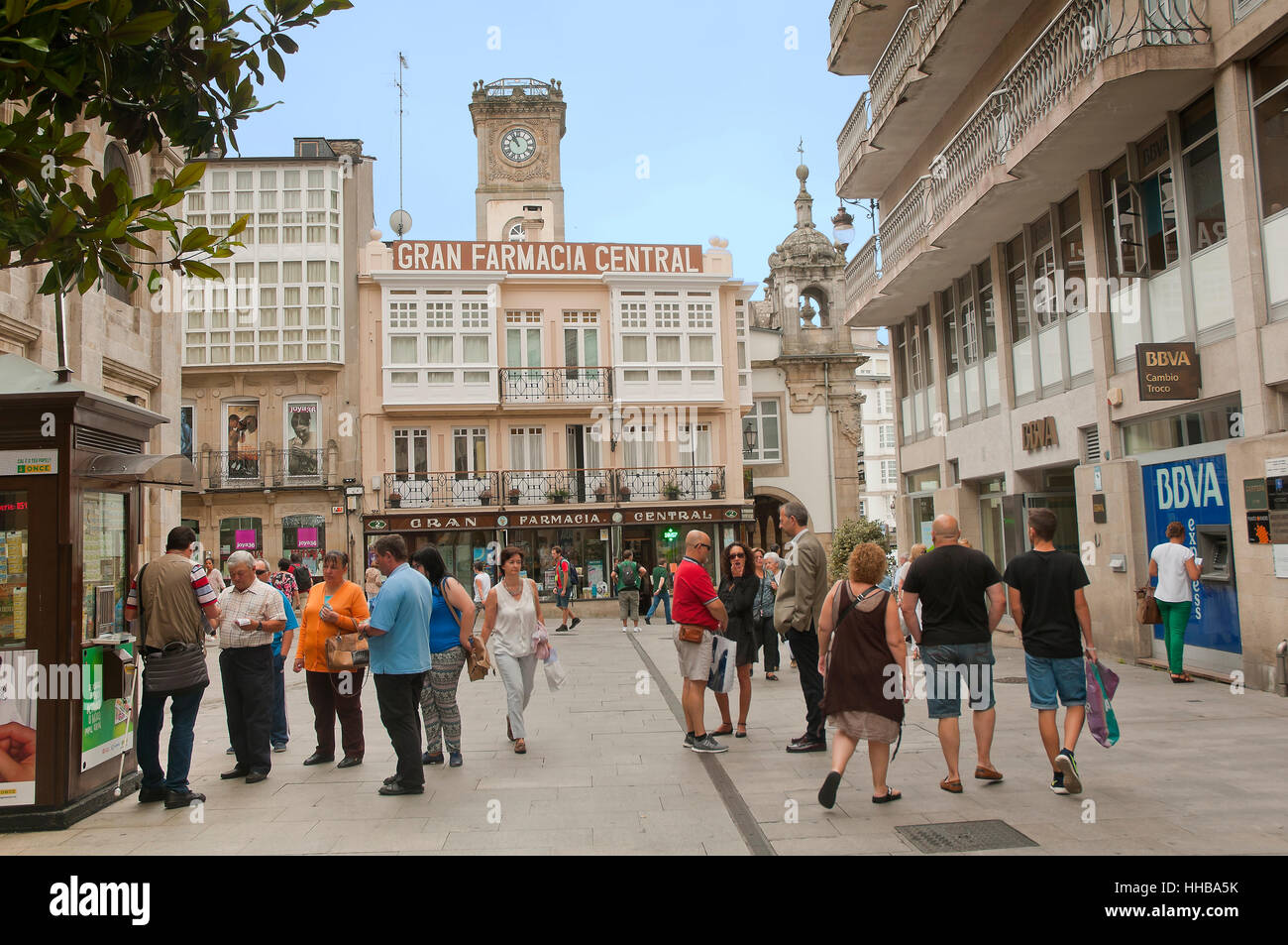 Downtown, Lugo, Region of Galicia, Spain, Europe - Stock Image