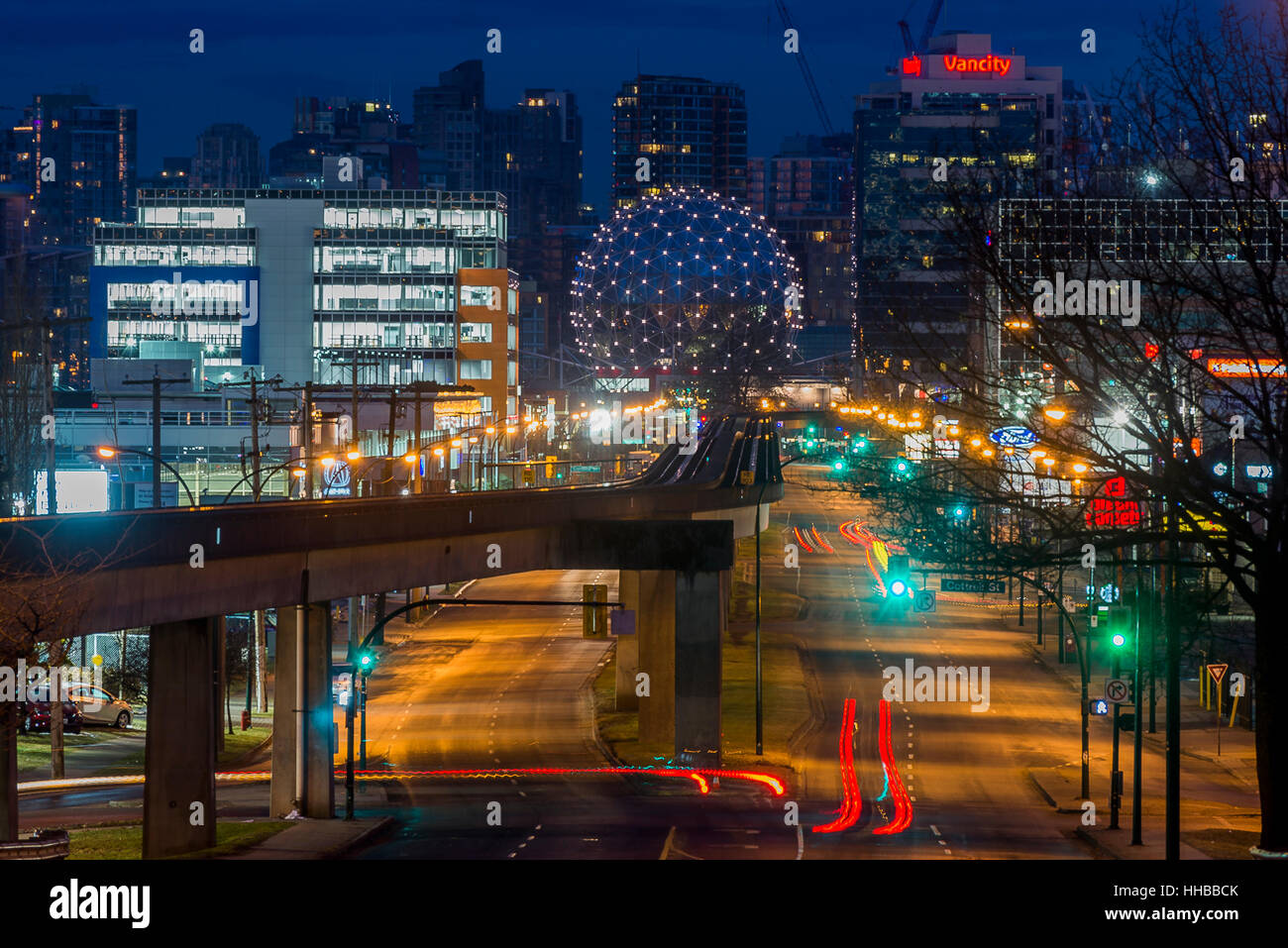 Skytrain tracks and Science World, Vancouver, British Columbia, Canada. - Stock Image
