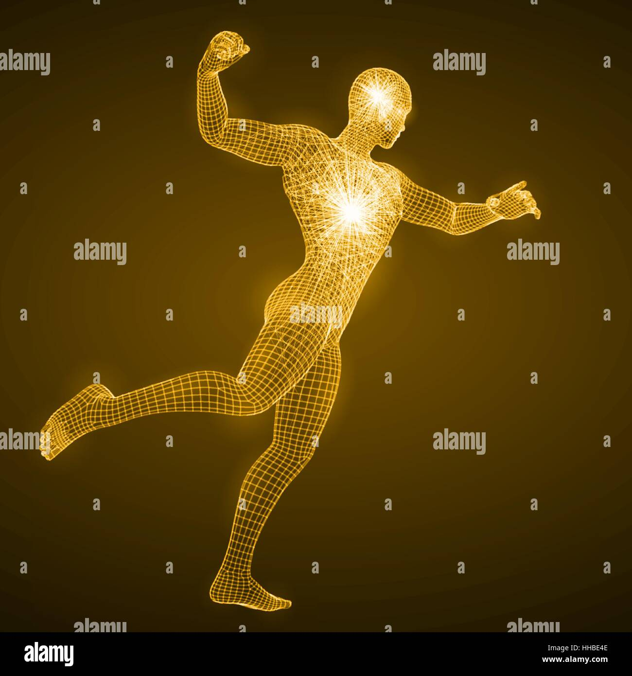 energy of the punching man - Stock Vector