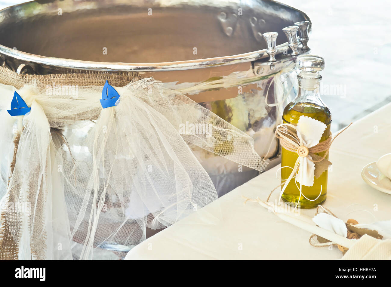 greek Orthodox christening decoration - Stock Image