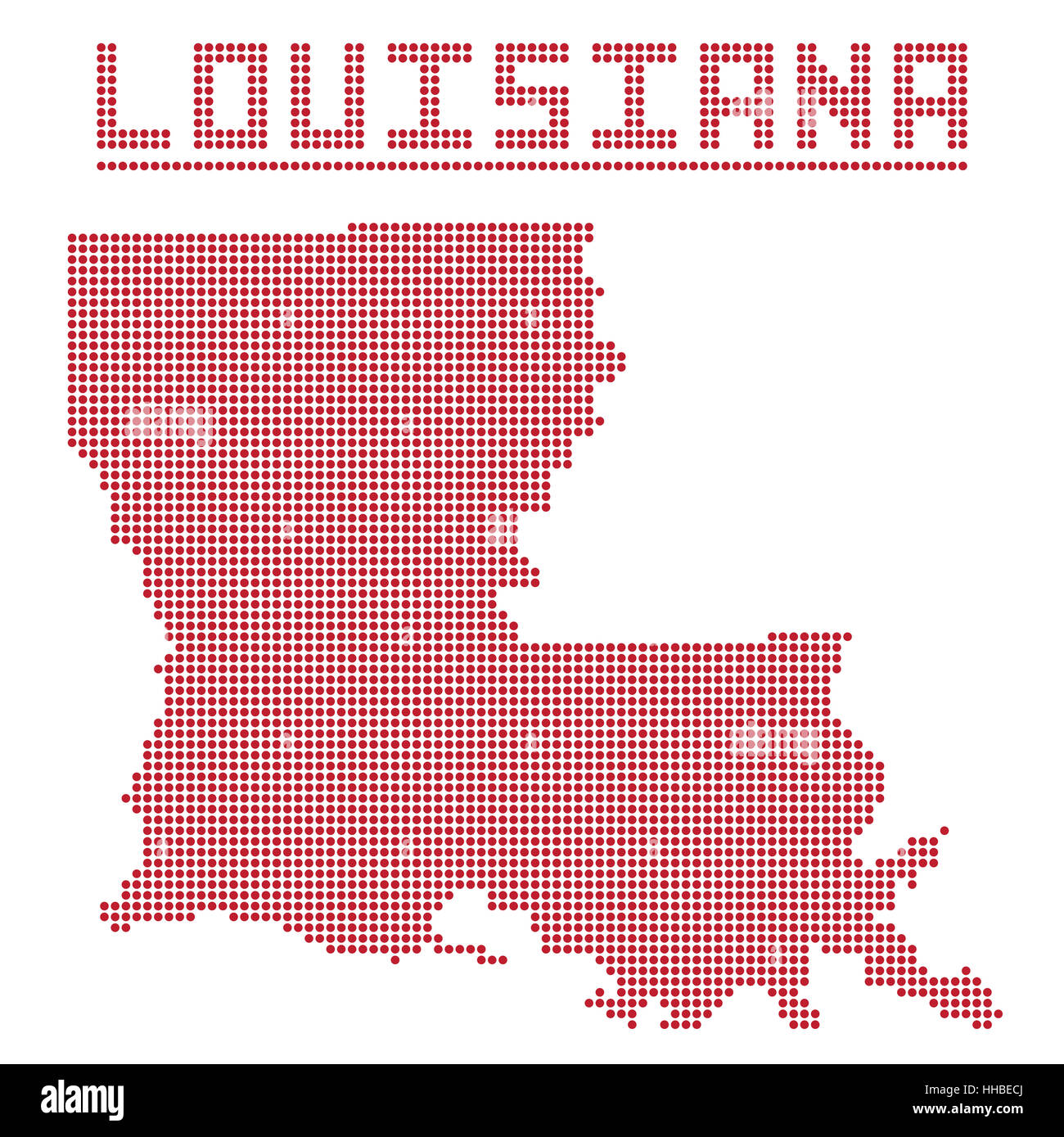 A dot map of Louisiana state isolated on a white background Stock ...