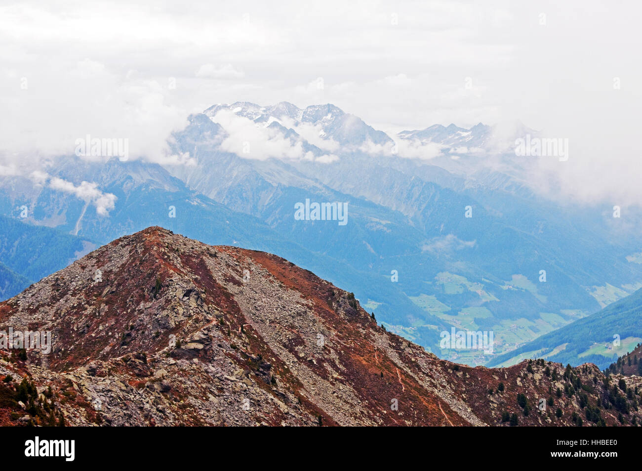 Valle Aurina and Zillertal Alps from the hiking trails of Speikboden area, near Campo Tures, Italy Stock Photo