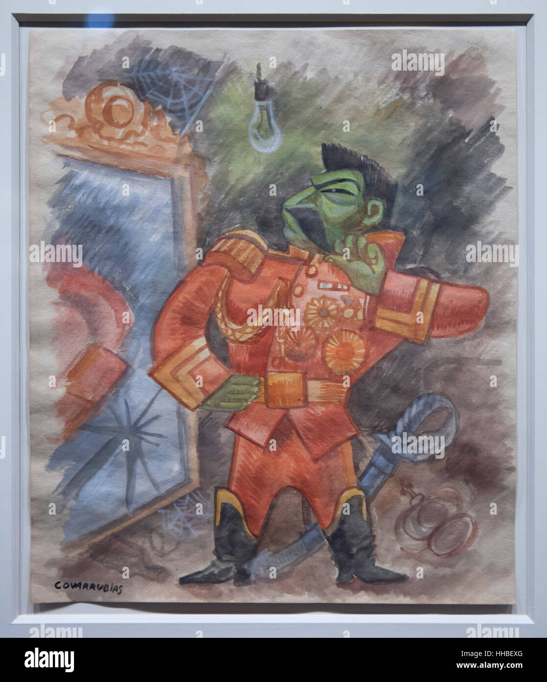 Coloured caricature of Soviet dictator Joseph Stalin by Mexican caricaturist Miguel Covarrubias displayed at the - Stock Image