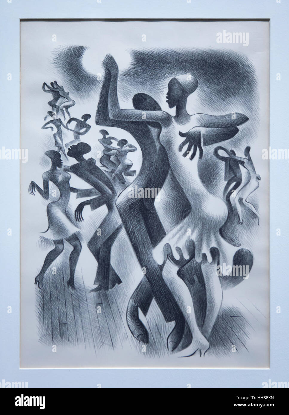 Drawing Harlem (1939) by Mexican caricaturist Miguel Covarrubias for Vanity Fair Magazine displayed at the exhibition Stock Photo