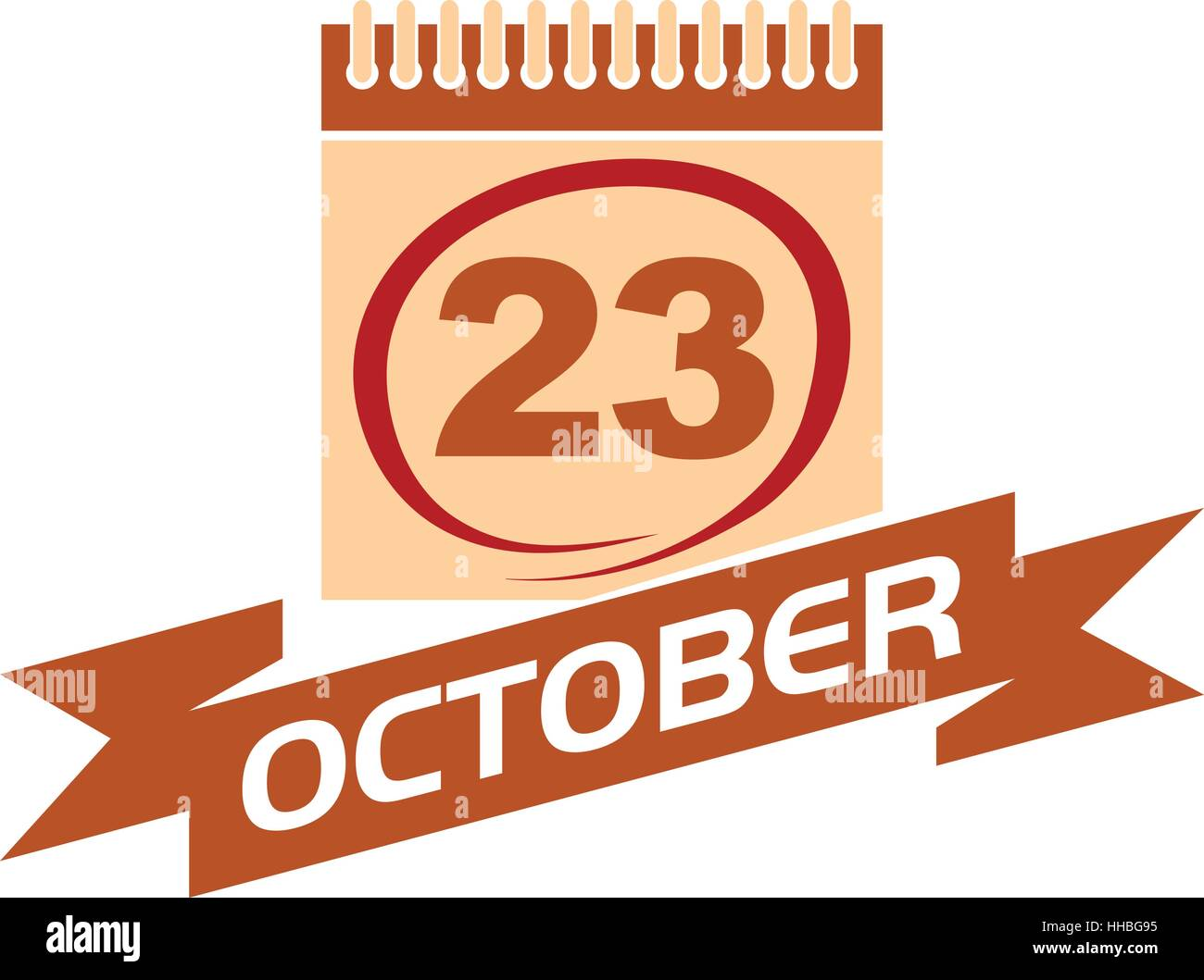 23 October Calendar with Ribbon - Stock Vector