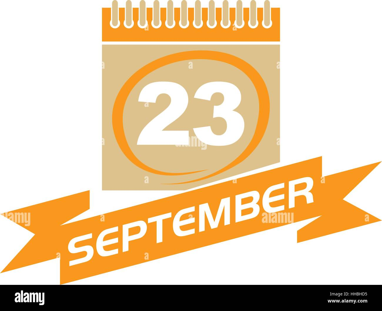 23 September Calendar with Ribbon Stock Vector