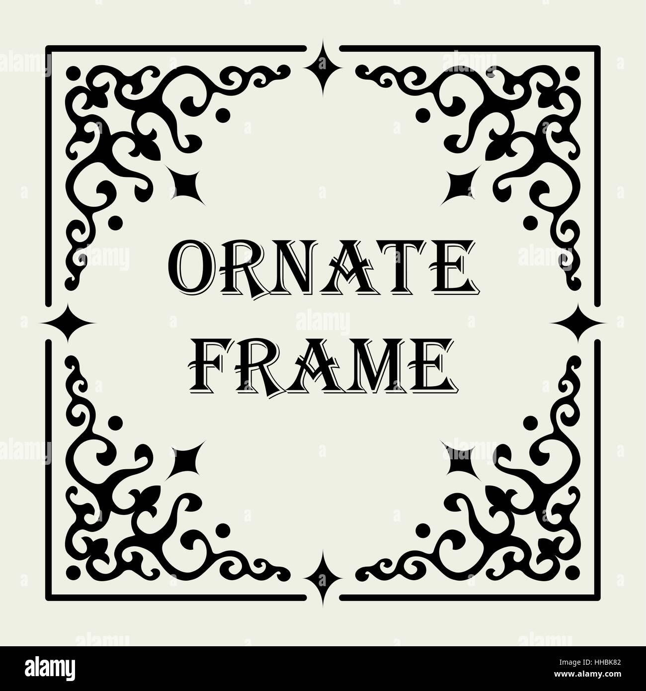 Vintage ornate frame. Vector design for text or image. The frame\'s ...