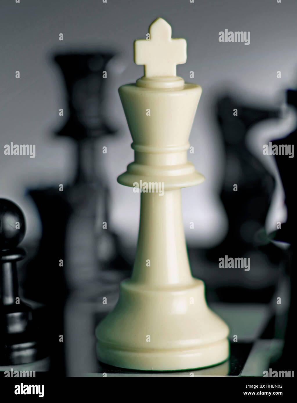chess king on board hero - Stock Image