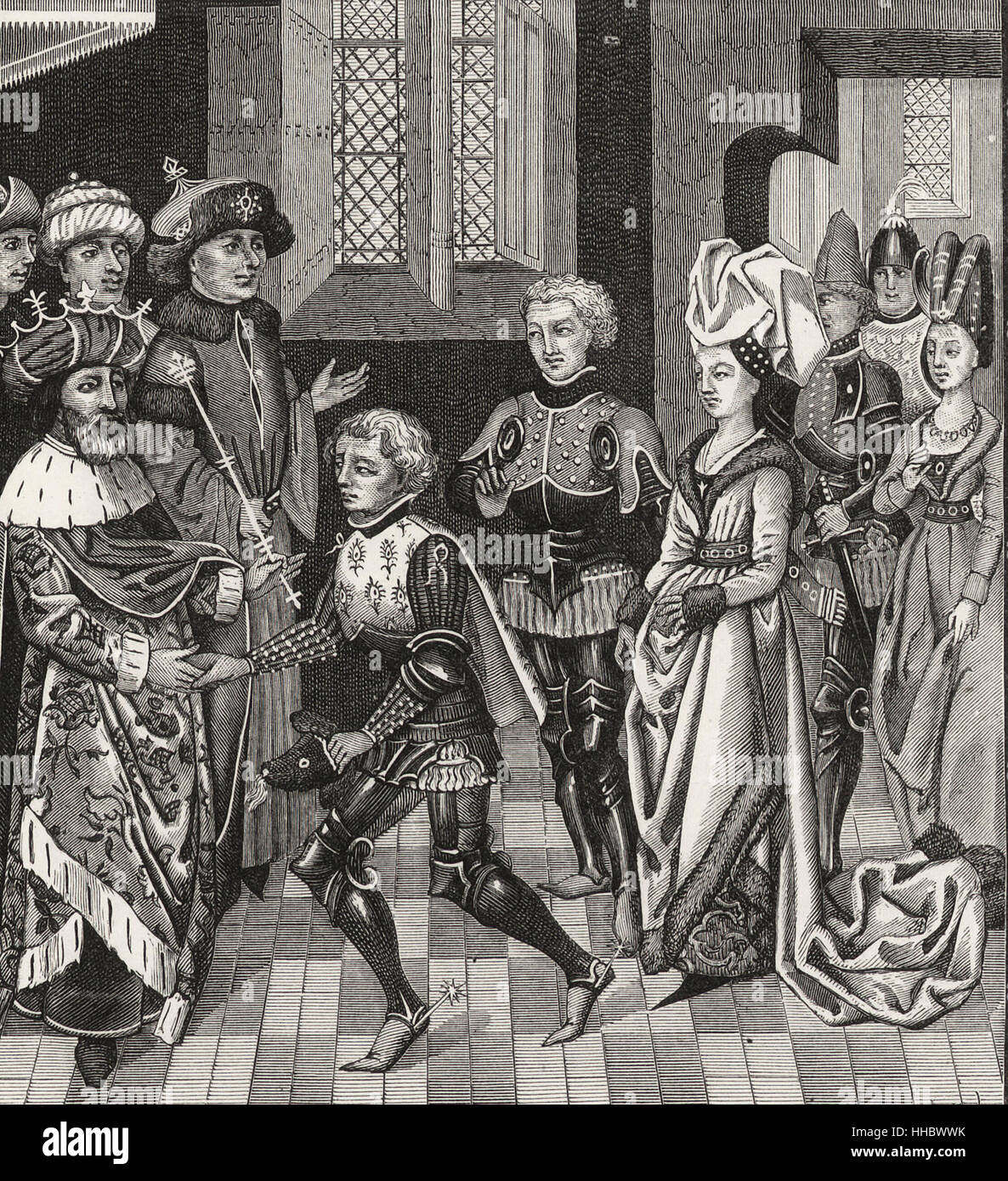 Reception of Gautier-sans-Avoir by the King of Hungary, who permits him to pass through his territory with the Crusaders - Stock Image