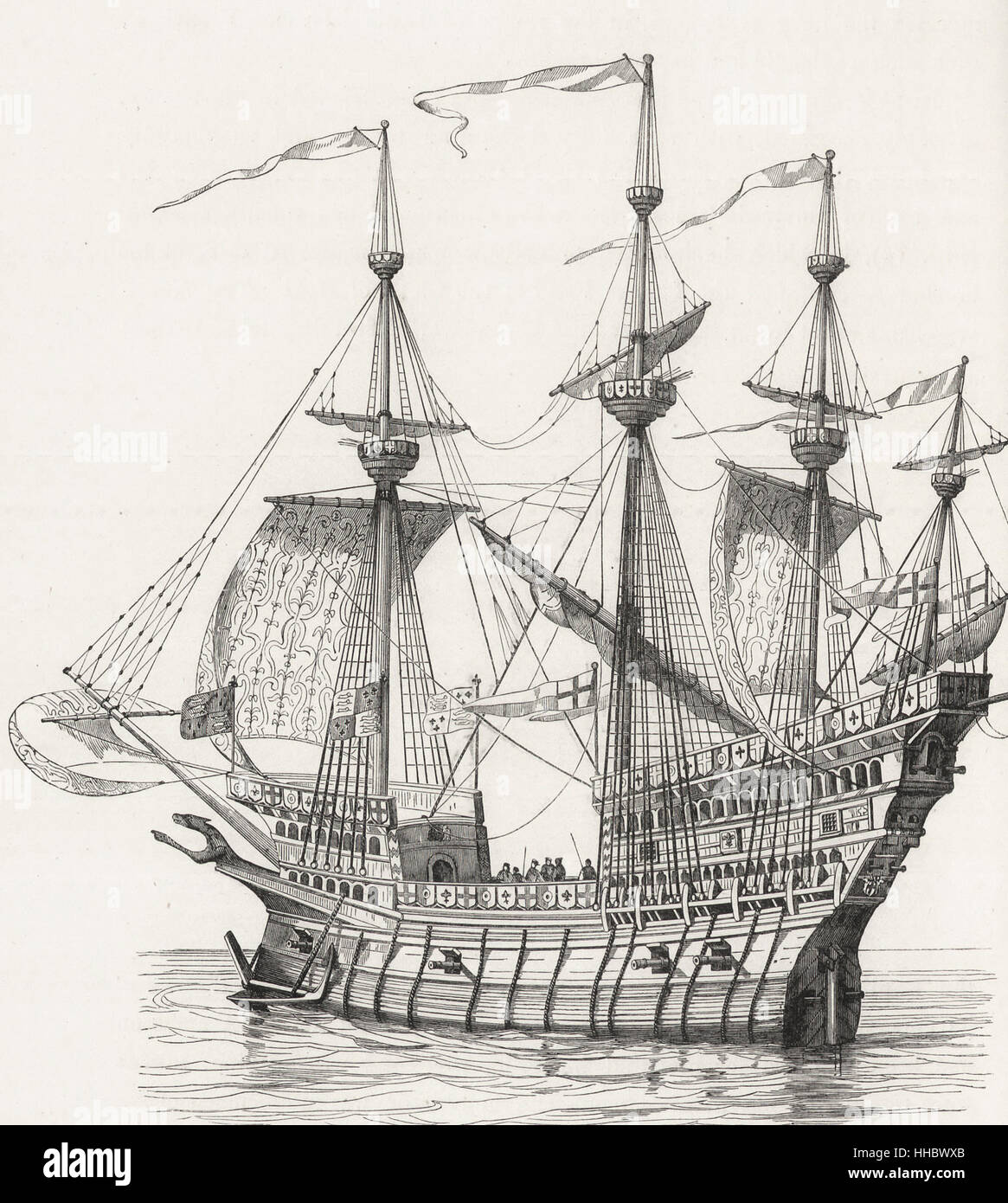 Man of War in which Henry VIII, King of England, embarked in 1520 at Dover to come to France - Stock Image