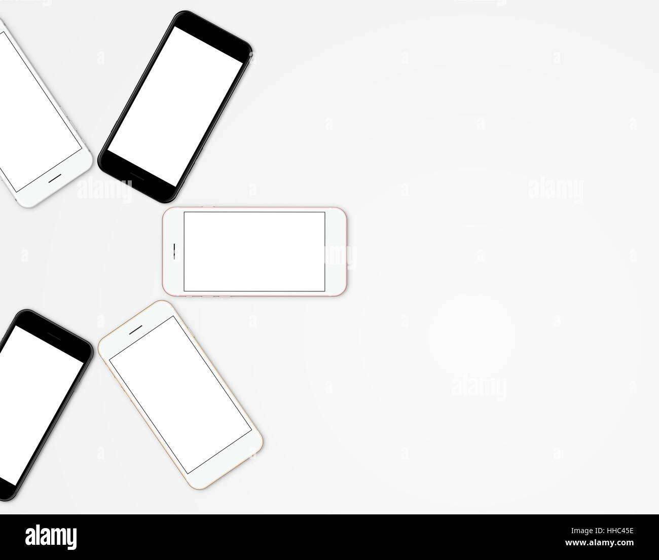 mock-up phone mobile color set blank screen, modern communication device on top view Stock Photo