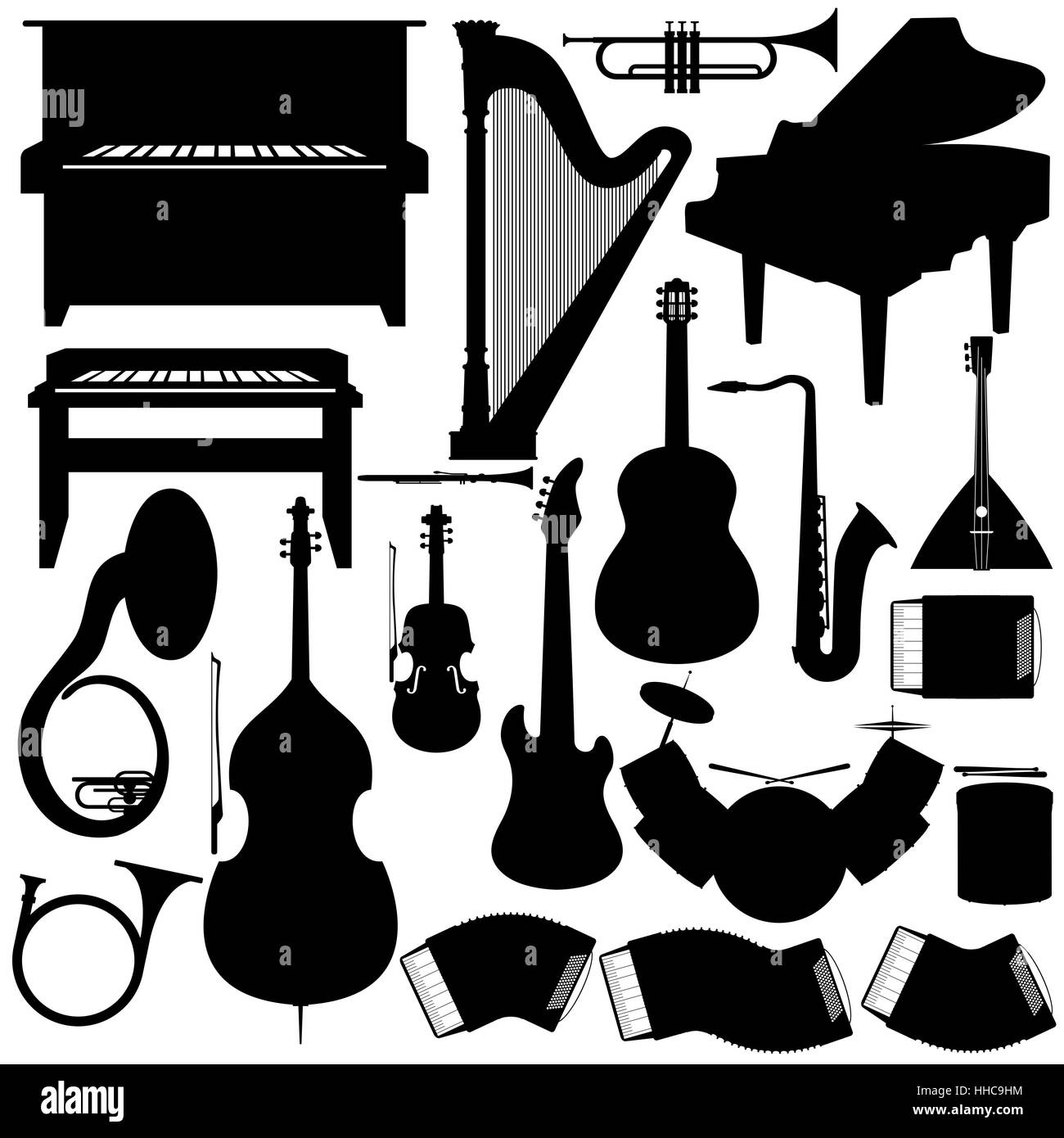 Outline a set of musical instruments. The illustration on a white background. - Stock Image