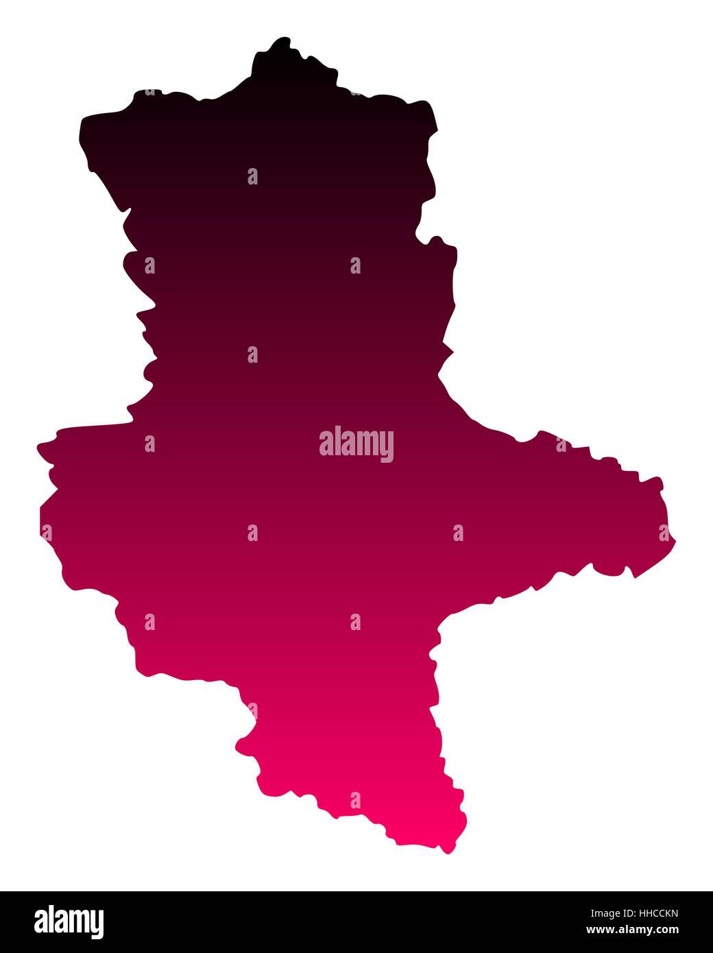 Karte von Sachsen-Anhalt - Stock Image
