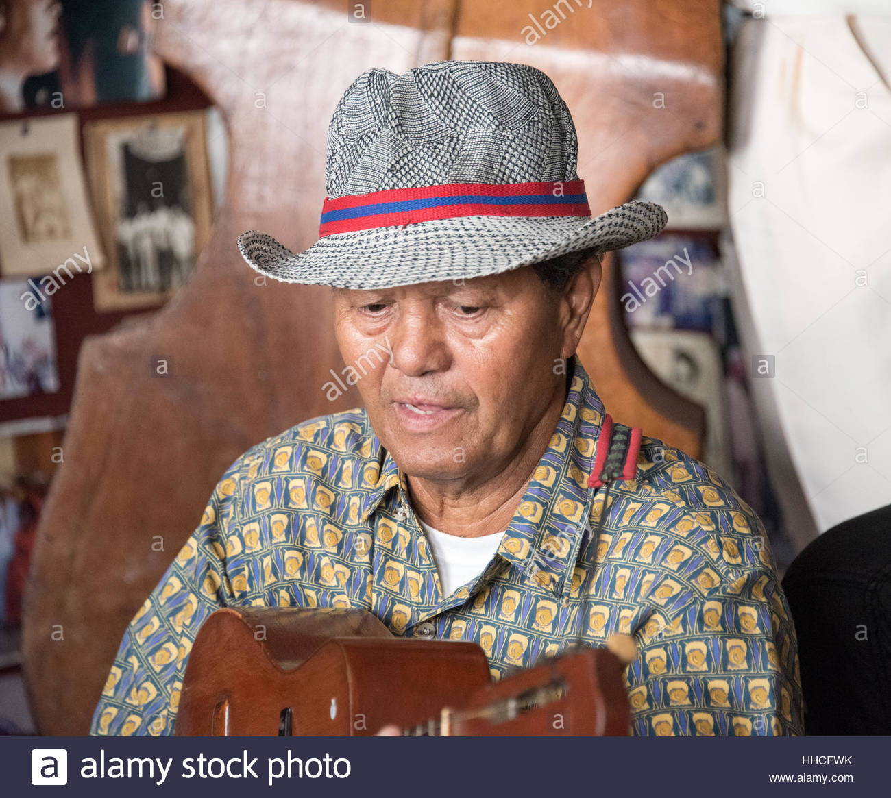 Cuban traditional musician playing acoustic guitar, Trova
