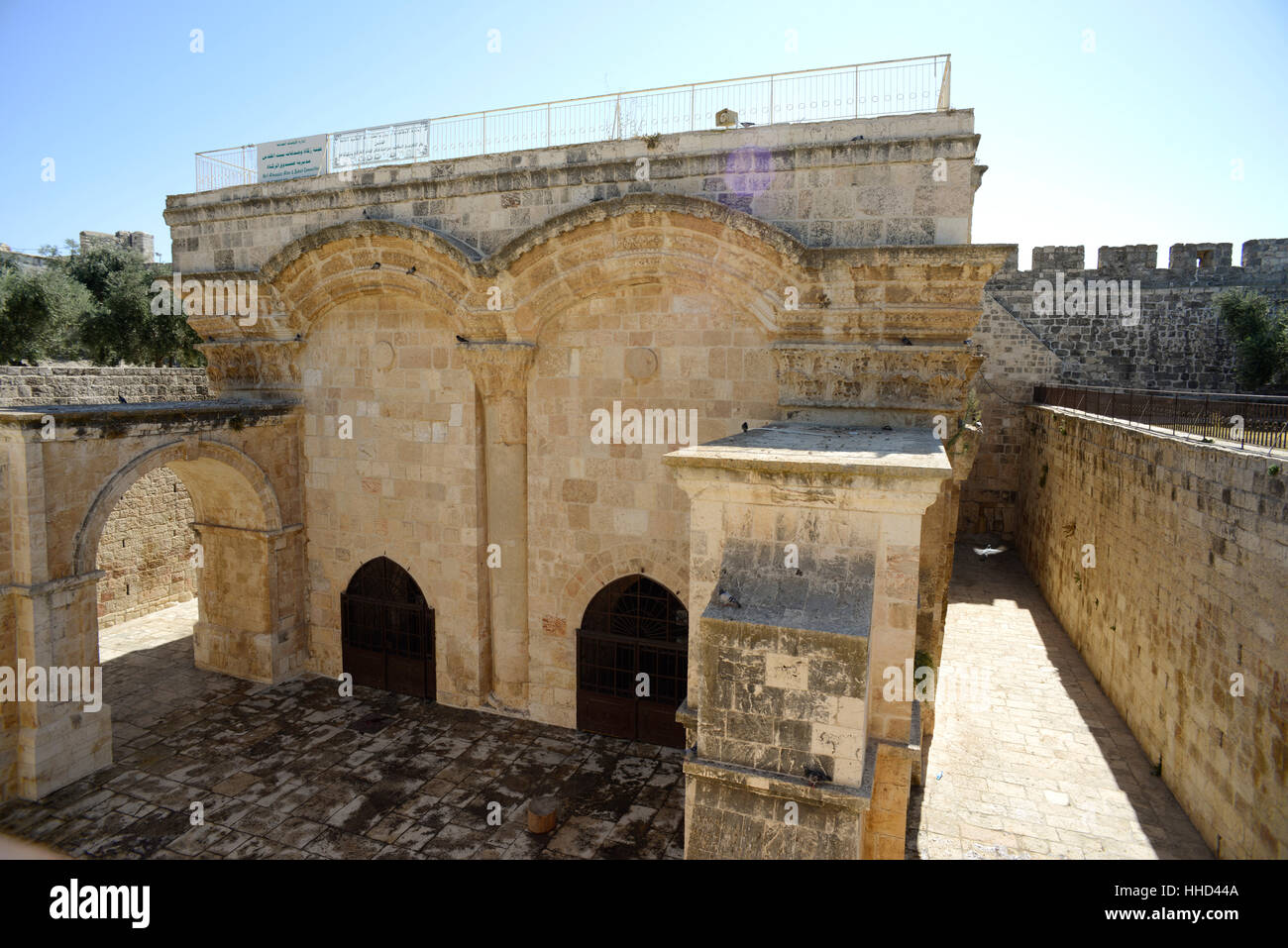 The historic Golden Gate, the only Eastern gate on the Temple Mount in Jerusalem, Israel has been closed since medieval - Stock Image