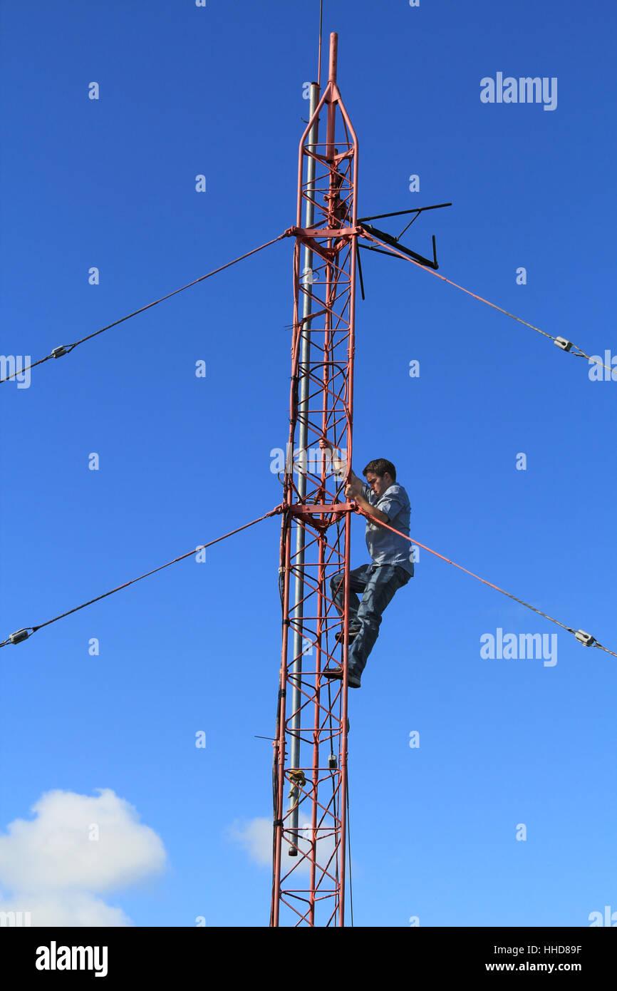 tower, antenna, radio, mast, transmitter, guy, blue, tower