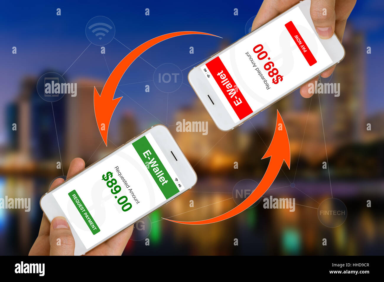 Concept of Fintech or financial technology shown by using smartphone and e-wallet app to transfer money of make - Stock Image