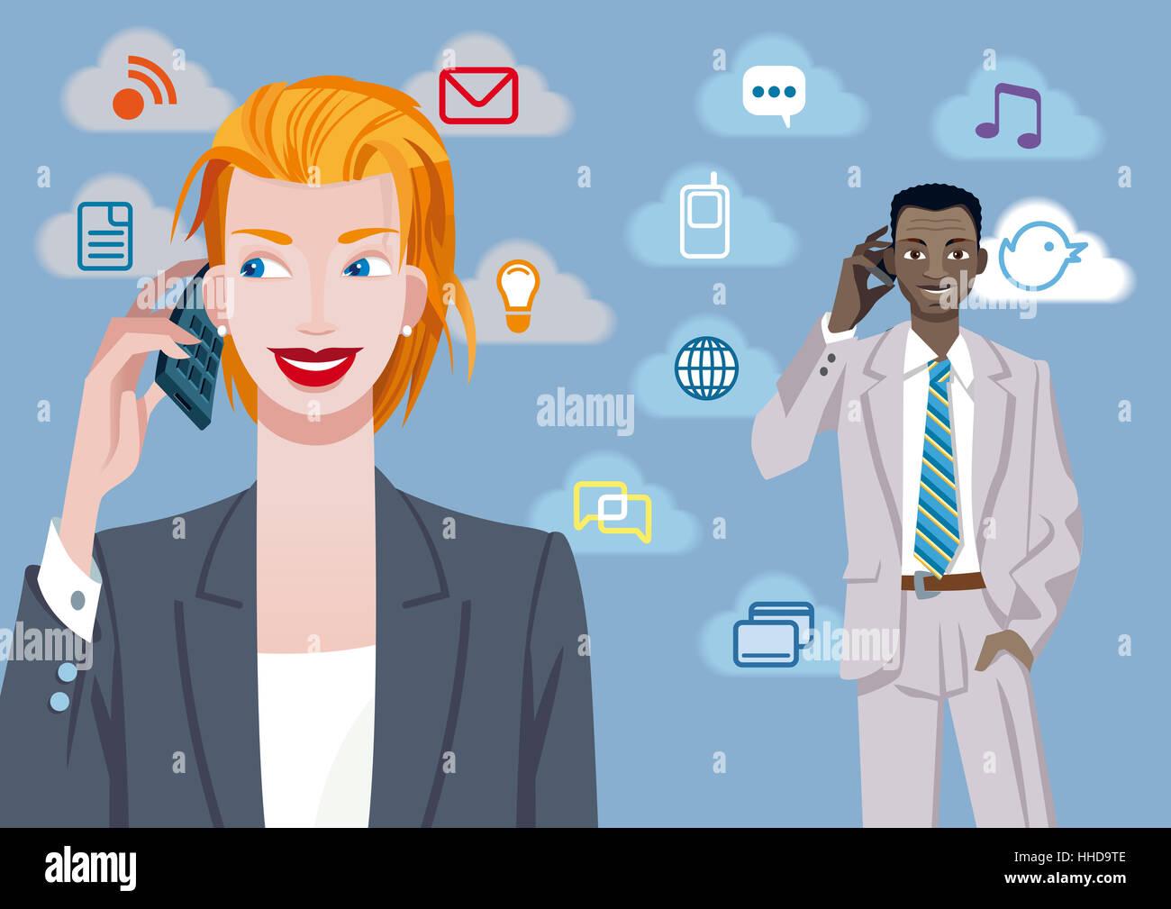 woman, telephone, phone, cellphone, mobile, mobile phone, communication, black - Stock Image