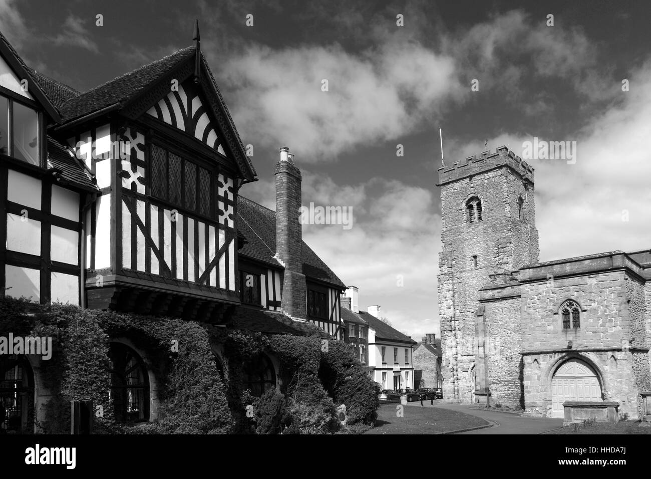Spring, Holy Trinity parish church, Much Wenlock town, Shropshire County, England, UK - Stock Image