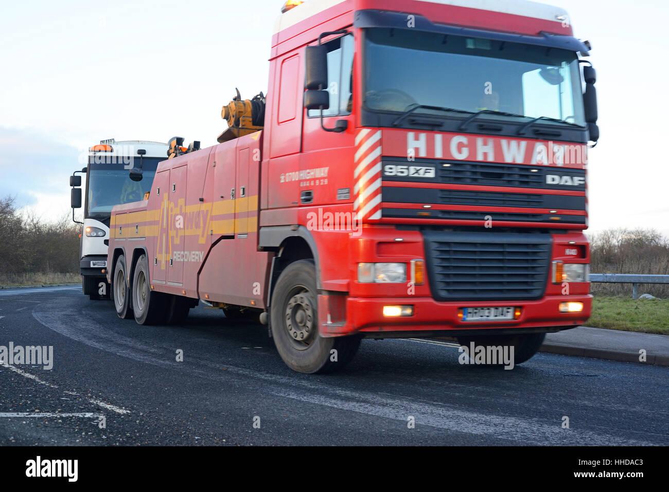 breakdown rescue lorry towing broken down vehicle york united kingdom - Stock Image