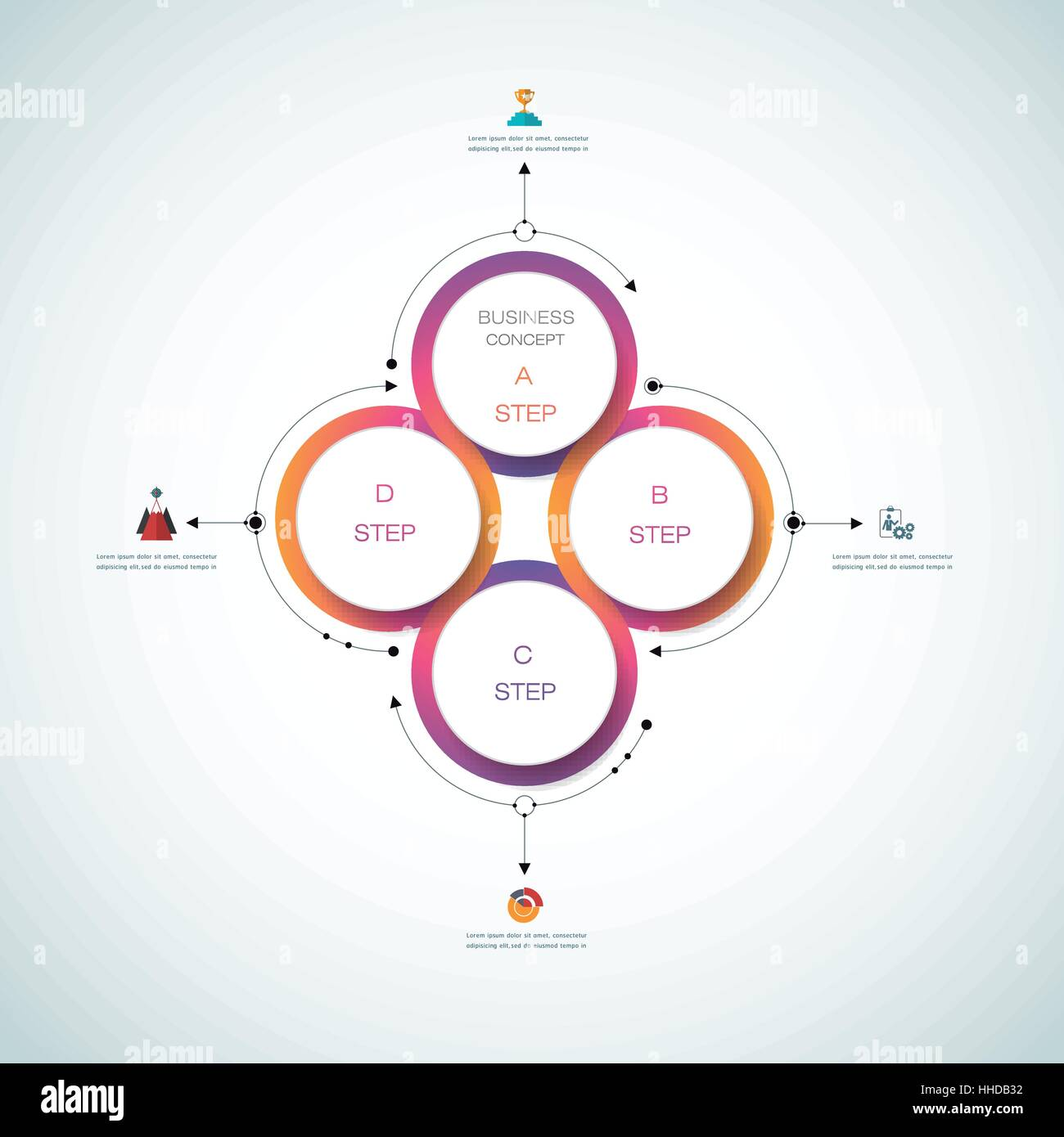 Vector infographics, 3D paper cycle diagram template, Blank space for data content, business, infographic, digital - Stock Image