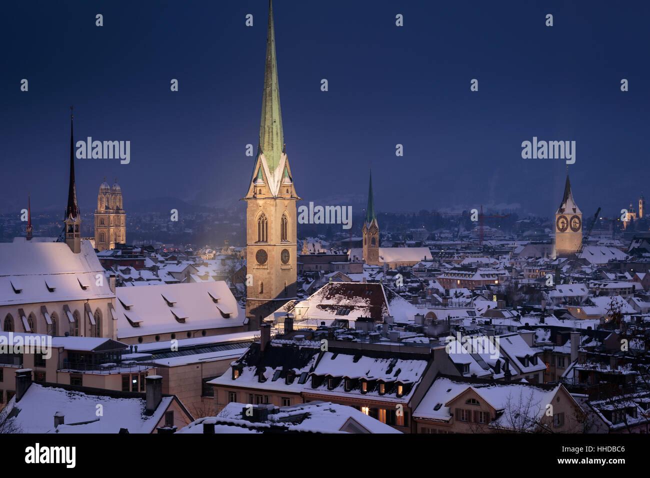Skyline of Zurich at night, Switzerland. - Stock Image