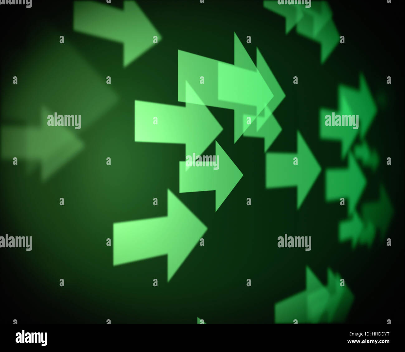 Background of multiple green arrows going on the right - Stock Image