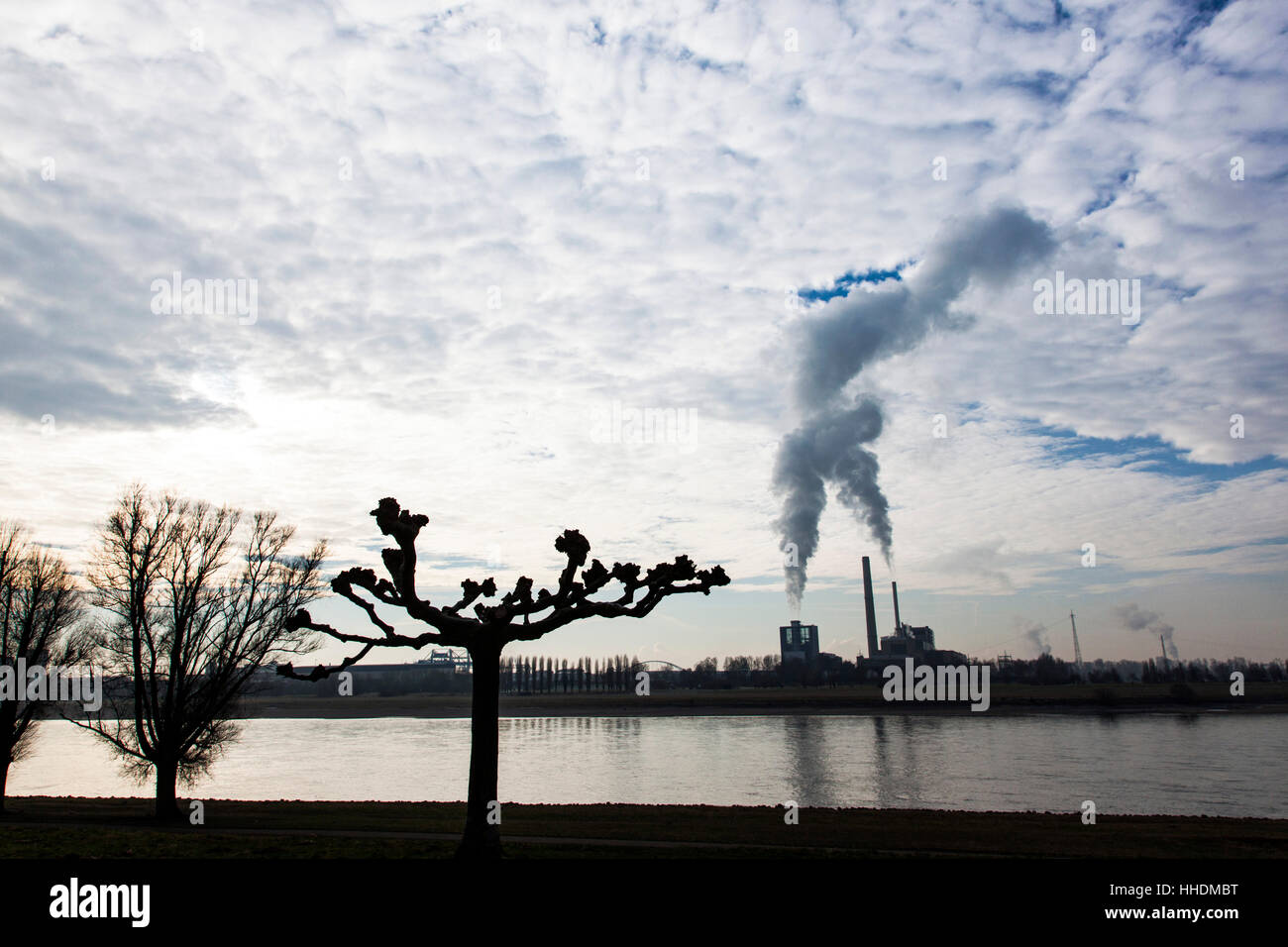 Power plant Lausward at the Rhine in winter Stock Photo