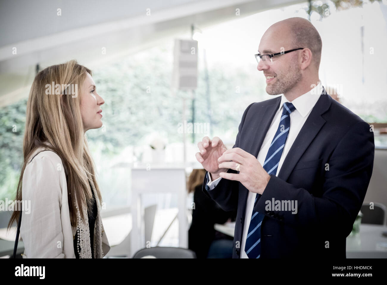 Singer Beatie Wolfe and Mark Lightowler. DLD London Breakfast. Celebrating the tenth anniversary of the Serpentine - Stock Image