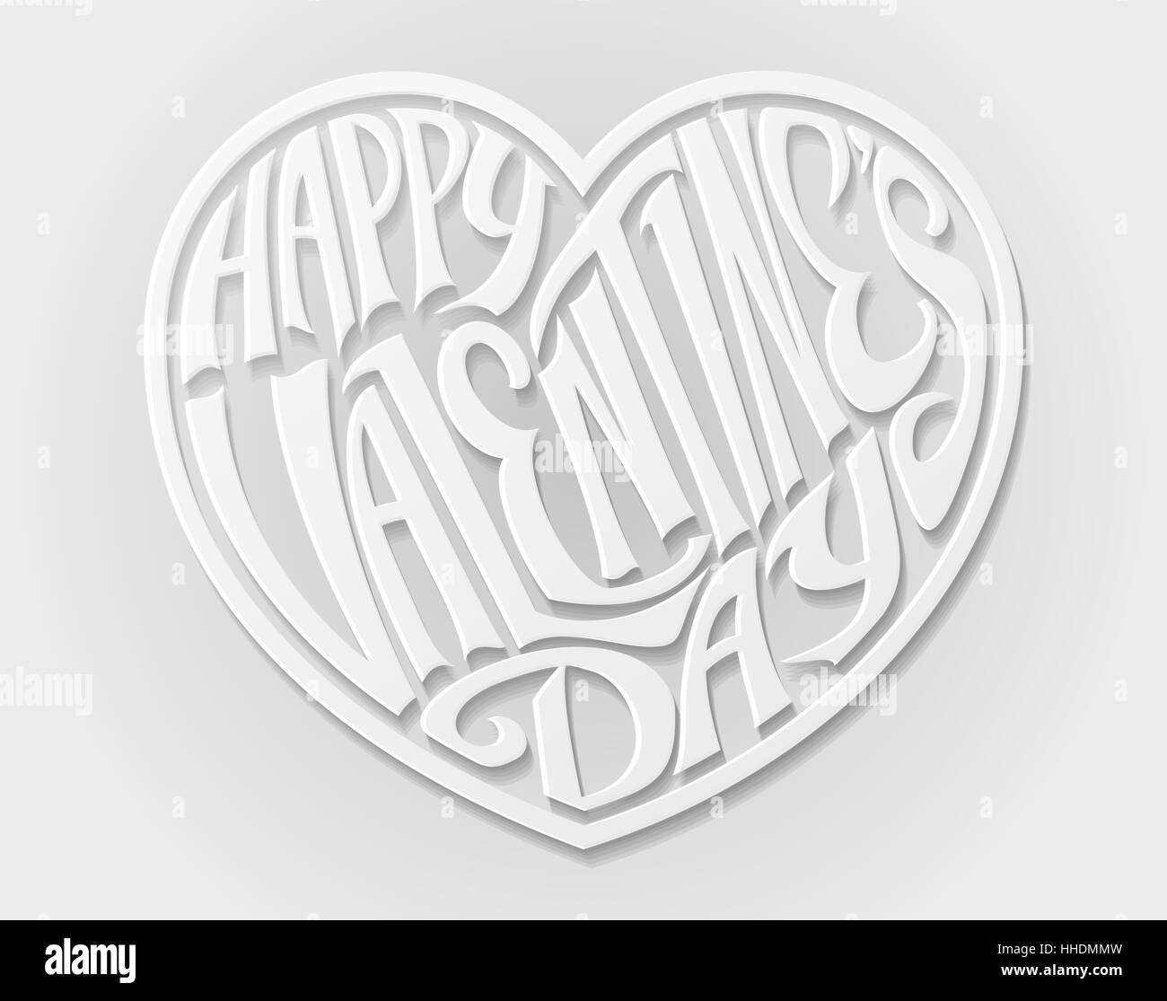 A Paper Craft Style White Happy Valentines Day Heart Letters Text