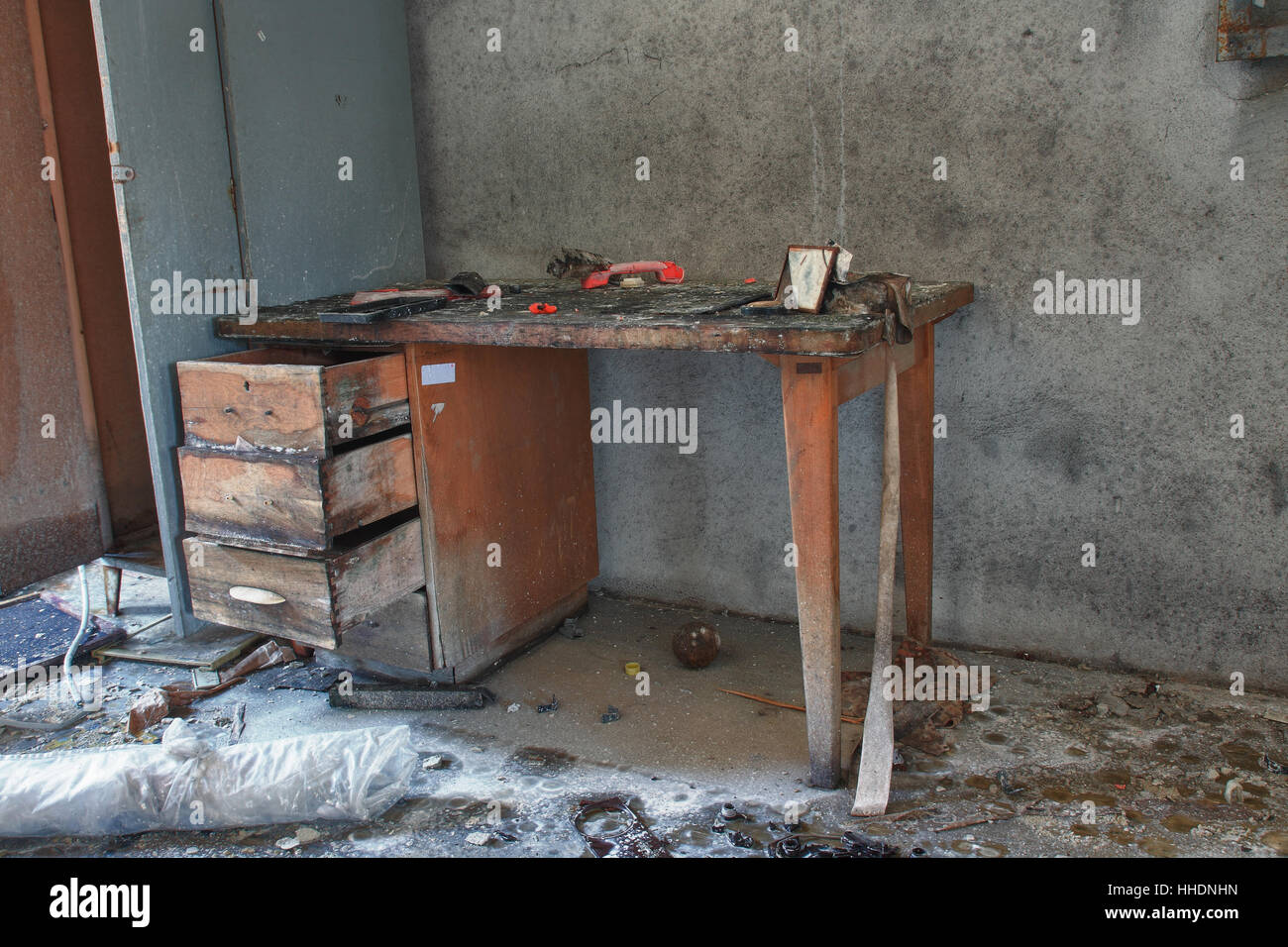Photo from demolition  textile  factory,broken table. - Stock Image