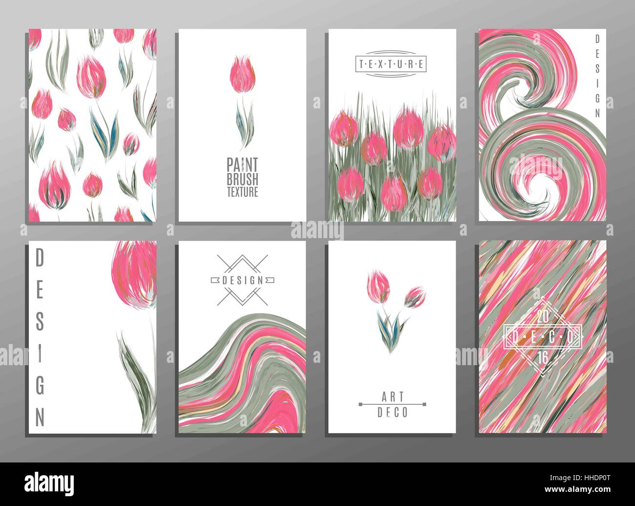 floral spring templates with cute flowers tulipss for romantic and